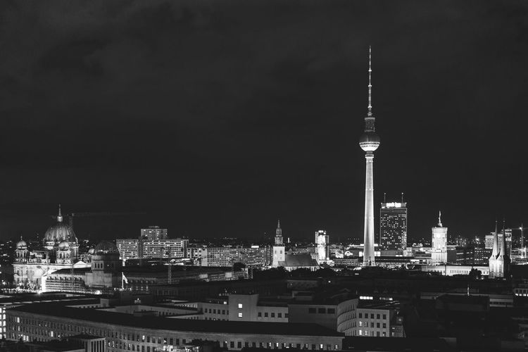Berlin from above III Architecture Berlin Blackandwhite Building Exterior Built Structure Capital Cities  City Cityscape Communications Tower Famous Place Fernsehturm Illuminated Modern Night Nightphotography Office Building Sky Skyscraper Spire  Tall - High Tourism Tower Travel Destinations Urban Skyline