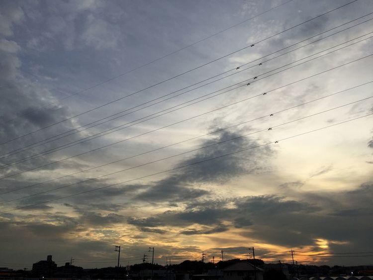 夕焼け Sunset 雲 Clouds 空 Sky 電線 Electric Wires
