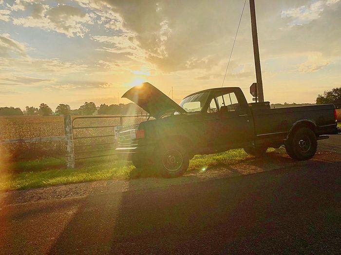 Morning Break-down Truck Sky Sunset Cloud - Sky Nature Sunlight No People Built Structure Outdoors Land