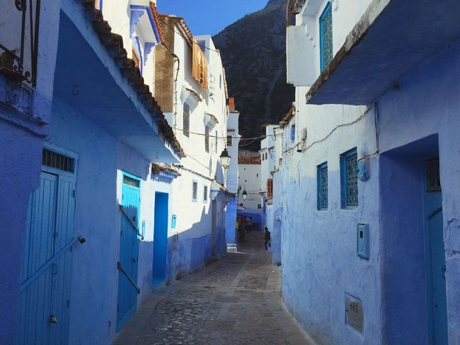 Beautiful Town Sunny Chaouen Blue Wall Blue EyeEm Selects Architecture The Way Forward Built Structure Building Exterior Day No People