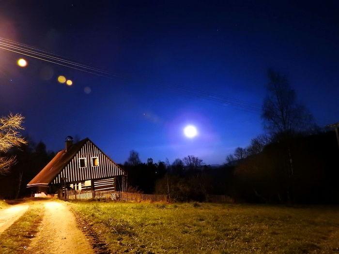 Astronomy Beauty In Nature Illuminated Luna Moon Moon Měsíc Nature Night No People Outdoors Scenics Sky Star - Space Star Field Tranquil Scene Tranquility Tree úplněk