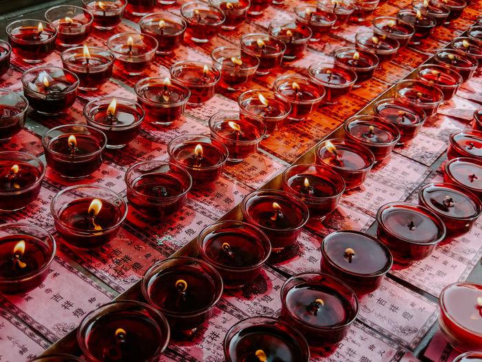 Full frame shot of tea light candles