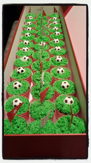 Soccer cupcakes in celebration of winning the State U/18 Girls Championship. Made by our talented captain Lauren Di Salvo. And she's not a bad soccer player either... Soccer ⚽ Cupcakes Essendon Royals