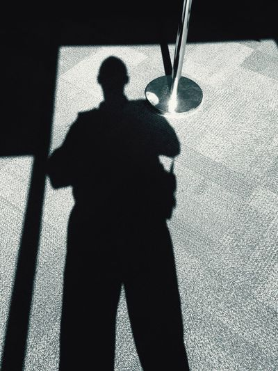 Shadow Sunlight Focus On Shadow Men Security SecurityGuard On Patrol Standing Outdoors Day Outline Footpath I Phone Photography