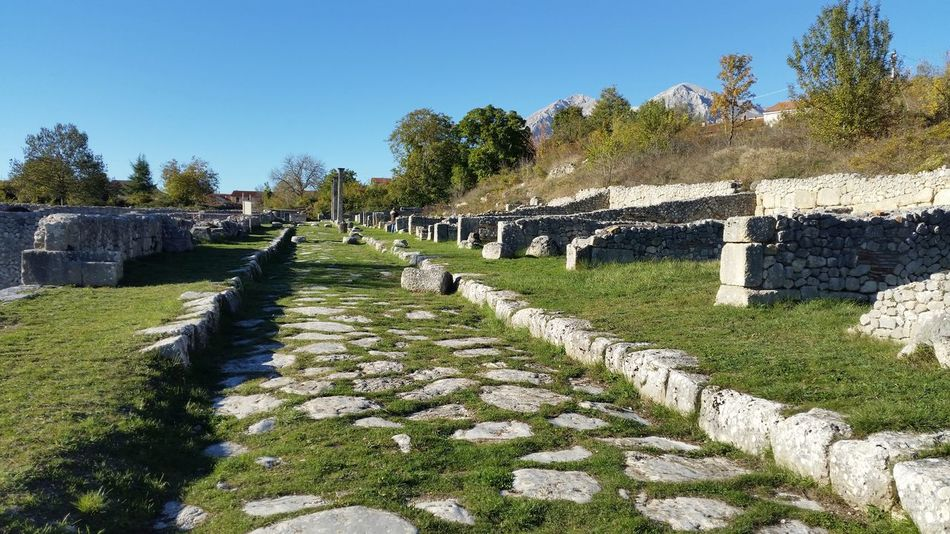 Abruzzo - Italy Alba Fucens Blue Clear Sky Day Diminishing Perspective Footpath Fresh On Eyeem  Grass Growth Narrow Nature Outdoors Plant Rock - Object Roman Road Stone - Object Stone Material Sunlight The Way Forward Tranquil Scene Travel Destinations Tree Vanishing Point Walkway