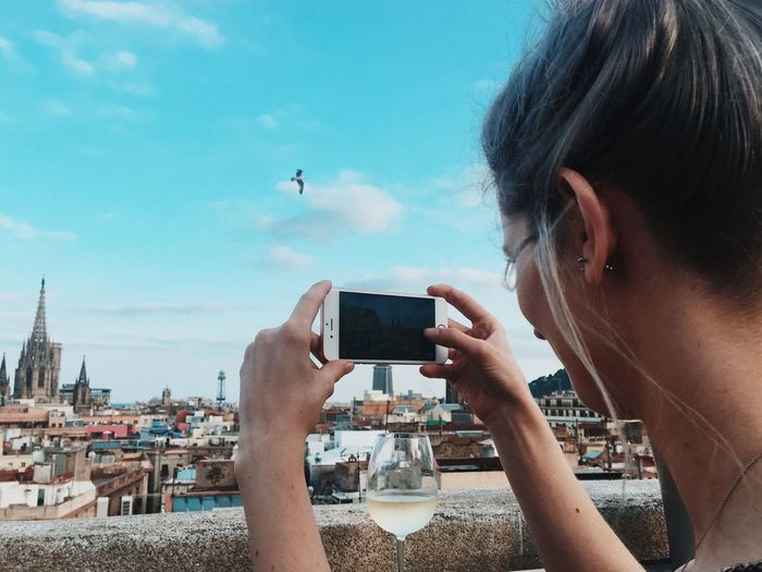 Taking Photos Woman Tourist Rooftop Sunny Day Barcelona