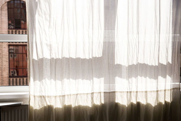 White Curtain On Window At Home