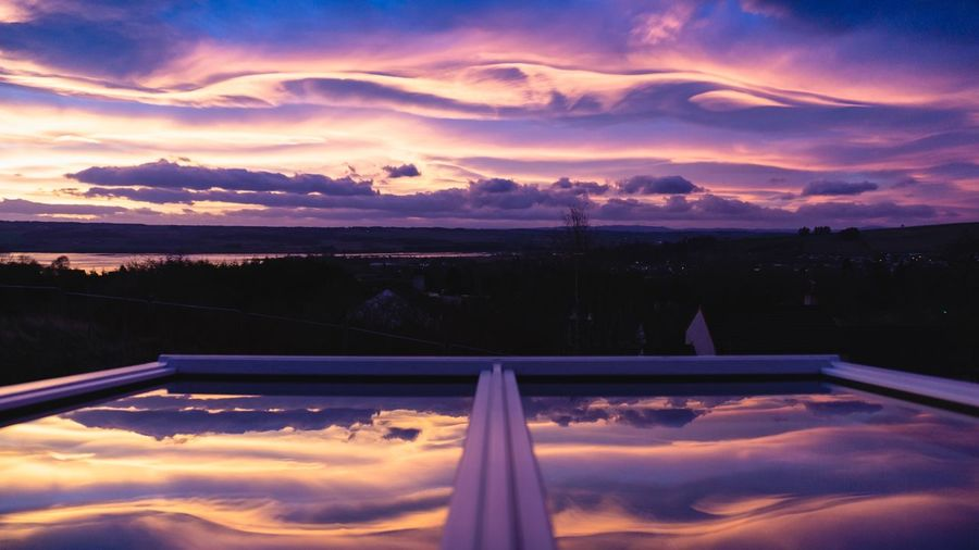 Cosmos Home Power In Nature Scottish Highlands Window Sunrise Light Ethereal Scotland Sky Cloud - Sky Sunset Water Beauty In Nature Scenics - Nature Nature Dramatic Sky Orange Color Swimming Pool Tranquil Scene Tranquility Reflection Mountain Idyllic Outdoors Environment Purple