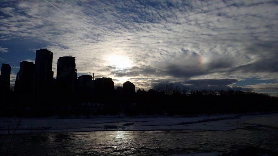 Sun Dog Dusk. Atmospheric Mood Bow River Cloud Porn Contrail Dusk Silhouette Sun Dog Tranquility Unruffled