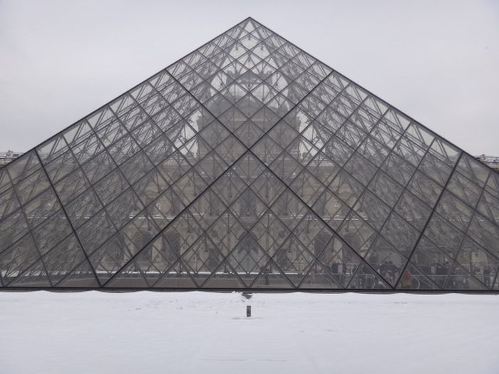 Museum Louvre Paris Je T'aime Pyramid Winter Business Finance And Industry Snow Architecture Built Structure Cold Temperature Museum