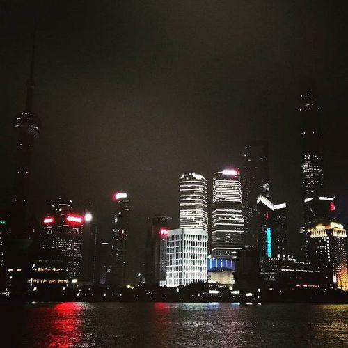 Shanghai Skyline Citylights Reflections Travelling Huaweimediatour