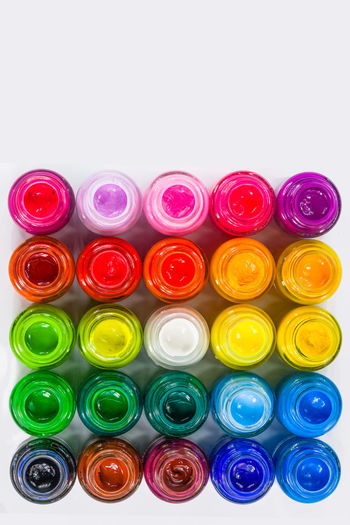 top view of color packed in clear bottles. Put together a rectangle on white background. Poster color for student range cheap price easy to paint for student. color are bold bright and opaque. Art, Drawing, Creativity Paint Close-up Color Color,children,cheap,colorful,can,clear,creative, Colorful Day Glue,grade,gum,green, Multi Colored No People Studio Shot Theatrical Theory White Background White Background,