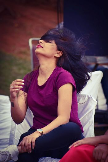Candid Photography Women Woman Girl Style Stylish Indianphotography Happiness Candid Sitting Young Women Eyes Closed  Teenager Head Back Hair Toss Pretty Casual Attractive Autumn Mood EyeEmNewHere This Is Natural Beauty Holiday Moments The Modern Professional International Women's Day 2019