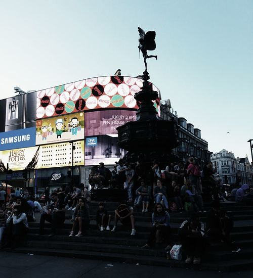 Picadillycircus London City Life Billboard People Watching Travel Photography Sunset Contrast