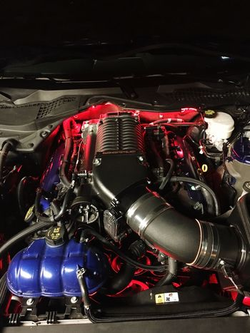 Red Engine Close-up Technology Futuristic No People Outdoors Day Mustang Supercharged  Cold Air Intake