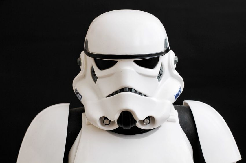 A Star Wars Stormtrooper from the Force Awakens movie on a black background. Stormtrooper Stormtroopers Stormtrooper STARWARS Star Wars Star Wars The Force Awakens Helmet Soldier Fighter Fancy Dress Costume Black Background Head And Shoulders Portrait