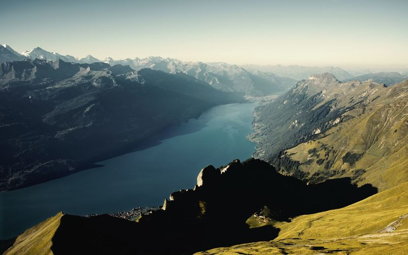 Brienzerrothorn Brienzersee Formation Lake Landscape Mountain Mountain Peak Mountain Range Nature Rothorn Scenics - Nature Snowcapped Mountain Sunlight Tranquil Scene Water