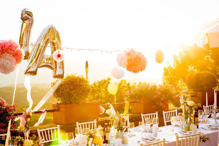 Celebration Party Time Partying Till Sunrise Sunlight Sunrays View Wedding Yes Architecture Celebration Clear Sky Day Flower Happy Time No People Outdoors Party Party - Social Event Sky Table Tree Warm Colors Wedding Day Wedding Party Wedding Table