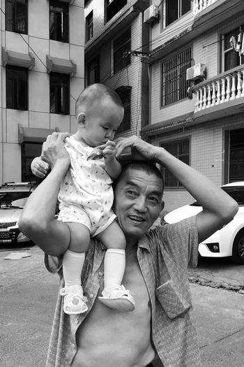 Childhood Real People Togetherness Love Baby Two People Lifestyles Happiness Leisure Activity Smiling Outdoors Day Blackandwhite The Week On EyeEm Black And White Monochrome Black