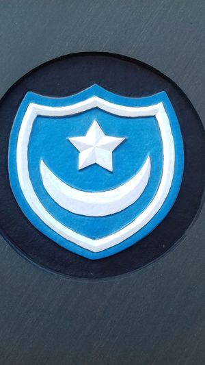 Portsmouth Football Club Fratton Park Football Badge Blue Army Crest City Blue Close-up Architecture