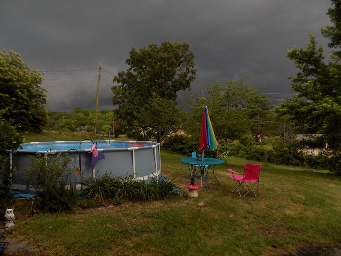 Beauty In Nature Dark Day Flag Grass Live For The Story Nasty Storm Clouds Nature No People Out Outdoor Decorating Outdoors Pool Is Ready! Come Take A Dip. Shelter Sky Swim Swimming Pool Tent Thunderstorm Tree