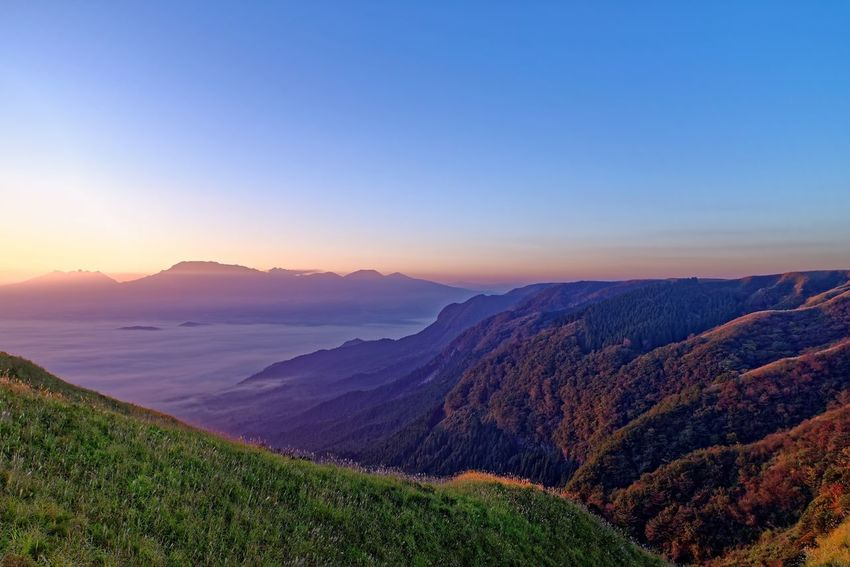 Beauty In Nature Nature Scenics Landscape Tranquil Scene Tranquility Idyllic Mountain Remote Outdoors Mountain Range No People Sky Sunset 阿蘇 Day 熊本県