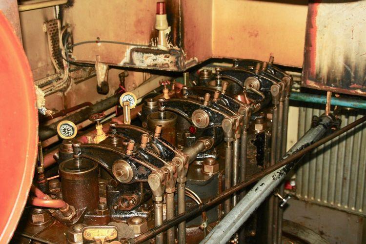 Marine Diesel Engine Machinery Metal Technology Machine Part Indoors  Engine Room Valves Overhead Valves Marine Overhead Valves Engine Old Engine