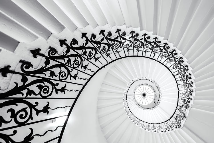 Tulip Staircase, Greenwich, UK Architectural Feature Architecture Built Structure Ceiling Circle Design Directly Below Geometric Shape Greenwich London Low Angle View Modern No People Pattern Queen's House Repetition Skylight Spiral Spiral Staircase Staircase Staircase Vertigo Stairs Steps Steps And Staircases The Architect - 2016 EyeEm Awards