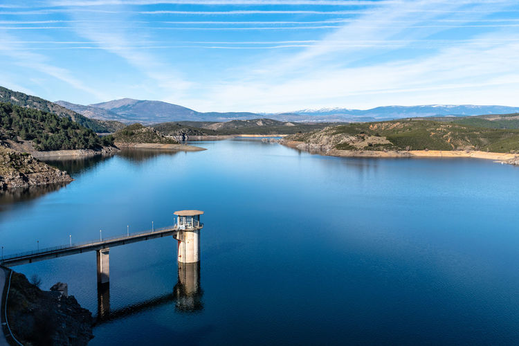 Reservoir and dam of the atazar in madrid