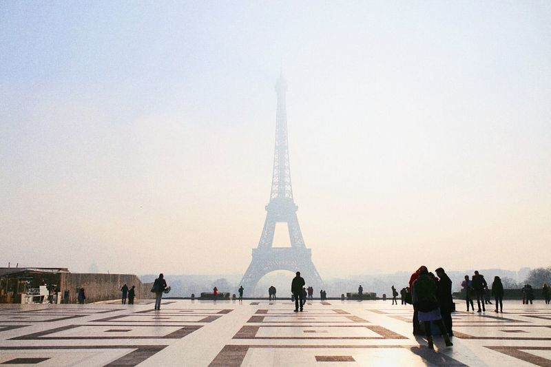 People Against Eiffel Tower During Foggy Weather