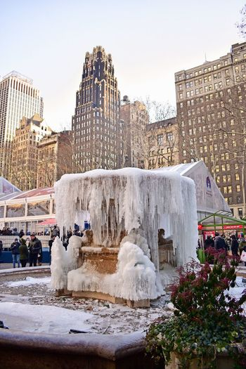 Frozen Fountain Ice Fountain Frozen Fountain Bryant Park  Bryant Park NYC Architecture Built Structure Building Exterior Travel Destinations Outdoors Cold Temperature Day Nature Snow Winter