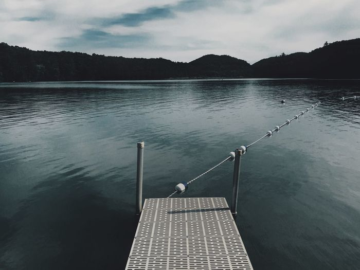 The lake Lake View Dock Water Lake Trees Beach Dark Blue Dusk Dark Water Water Sky Lake Tranquil Scene Nature Beauty In Nature Cloud - Sky Tranquility Reflection Scenics - Nature No People Mountain Day Outdoors