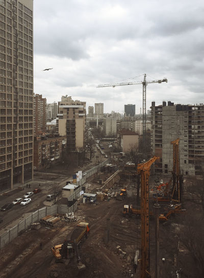 Architecture Building Exterior Built Structure City Cityscape Cloudy Construction Construction Site Day Industry Kiev No People Outdoors Road Sky Skyscraper Tall Ukraine Urban Urban Development Work