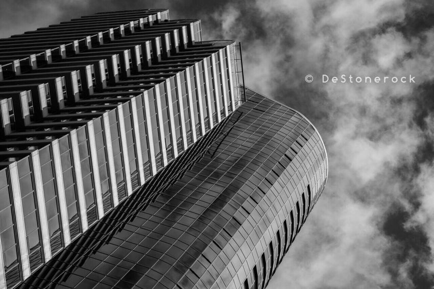 Architecture Building Exterior Built Structure Skyscraper Modern Low Angle View Cloud - Sky City Sky Taking Pictures Testing Camera Camera Practice Black And White Blackandwhite Blackandwhite Photography B&w Lookingup