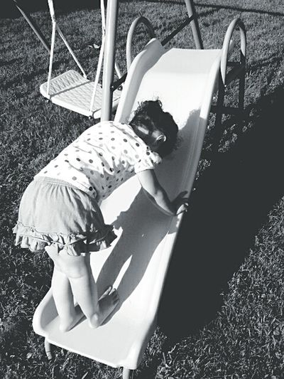 Full Length Childhood Outdoors Playground Grass Monochrome Black And White