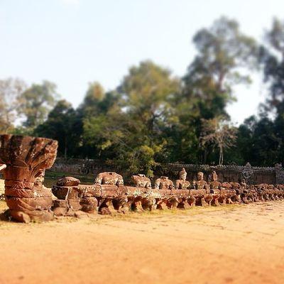 Naga Bridge to Preah Khan Temple. In this picture, a team ofdevaspulls Vasuki, whose menacing heads tower over the visitor. Worldheritage Wanderkat Angkor Nagabridge Siemreap Cambodia Heritage