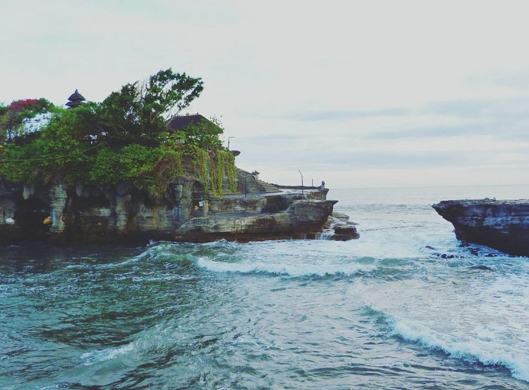 Sea Sky Nature Shore Bali Indonesian Tanah Lot Tanah Lot Bali Temple WaterTemple Sea And Sky Travel Photography Travelingtheworld  Travel Tropical Culture Waves Tranquil Scene Outdoors Waterfront Beach Water Acient Sea Water