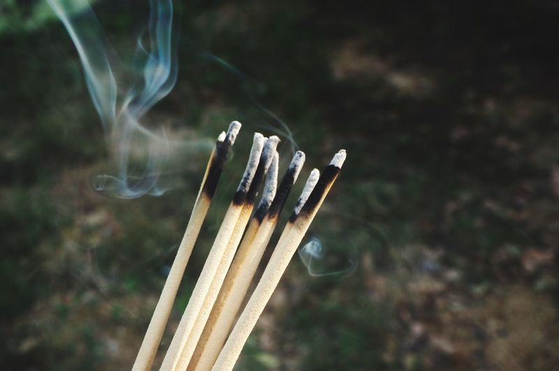 Focus On Foreground Wood - Material Burnt Close-up Burning Day Nature Incense Smoke - Physical Structure