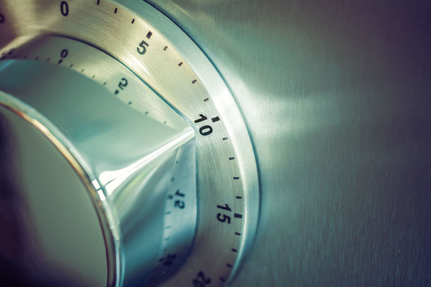 10 Minutes - Analog Chrome Kitchen Timer Placed On A Refrigerator Countdown Fridge Reflection Retro Aluminium Analog Chrome Close-up Counting Down Egg Timer Hours Kitchen Timer Macro Metal Minutes Refridgerator Seconds Silver Colored Ten Time Timer Vintage