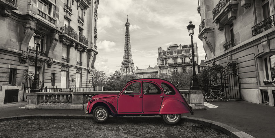 Eiffel Tower in Paris and retro red car at the Avenue de Camoens Architecture Autumn Avenue De Camoens City Cloudy Eiffel Tower Paris Red Romantic Sightseeing Tourist Alley Attraction Car Duck Eiffel French Historic Monument Old Timer Street Tourism Tower Travel Destinations Vintage