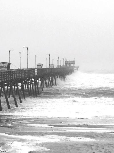 Hurricane Pier Storm Naturesfury Surf Shore Beach Tide North Carolina Emeraldisle Water Sea Ocean Atlantic Ocean Blackandwhite Man Made Object No People