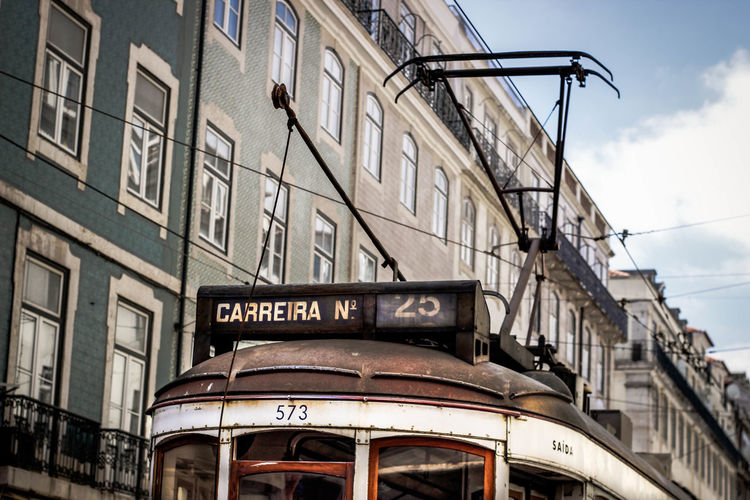Portugal Architecture Building Building Exterior Carreira City Day Lisbon Mode Of Transportation No People Old Outdoors Public Transportation Street Tramway Transportation