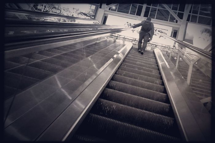 Long night. Ogilvie Transportation Center, Chicago. Steps And Staircases Steps Real People Railing Staircase Full Length Lifestyles Rear View Men One Person Indoors  Day People Streetphotography My Commute Reportage Shootermag Photojournalism Hipstamatic