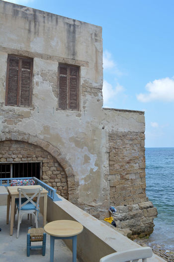 Architecture Beach Blue Building Building Exterior Built Structure Cloud Day Horizon Over Water House Lebanon Nature No People Old Outdoors Rest House Sea Shore Sky Sunlight Sunny Tranquility Tyre Water
