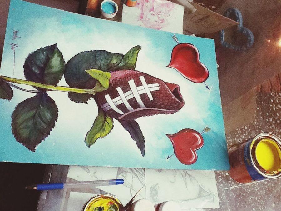 Ilustración Para los football fans ... Me pidieron una copia de este diseño , no se quien era el autor solo le puse los corazones y el fondo diferente