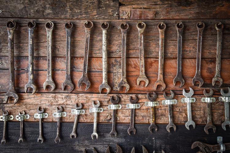 Craftsman tool Wrench manual / auto service mechanic tools with old wrench on wooden wall - Set mechanical tools Craftsman using for working or repair in auto car service Tools Mechanic Set Auto Repair Tool Mechanical Car Craftsman Metal Equipment Construction Steel Silver  Industrial Hardware Box Hand Group Iron Screw Workshop Wrench  Many Work Industry Using Object Collection Metallic Vehicle Craft Hobby Engineering Automobile Service Background Dirty Hammer Fix  Wooden Factory Professional Antique Driver Old Maintenance Restoration Vintage Different
