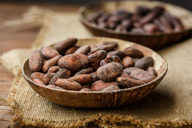 cocoa beans Cacao Beans Bowl Cocoa Cocoa Fruits Healthy Eating Jute No People, Raw Cacao Beans Raw Food Superfood