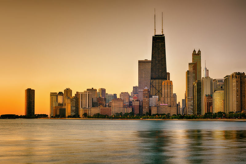 The shore Architecture Chicago City Cityscape HDR Illinois Lake Michigan MidWest Modern Skyline Skyscrapers USA Lake No Person Outdoors Reflections Shore Sunrise Urban Water Windows Windycity