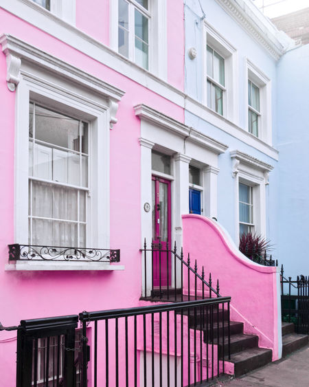 Pink and blue Notting Hill Pink House Pink House Fascade City Pink Color Politics And Government Window Railing Purple Façade Architecture Building Exterior Built Structure Steps And Staircases Stairway Magenta Entryway Steps Stairs