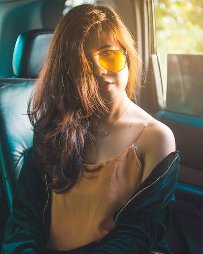Only Women Adult Golden Hour Yellow Yellow Shades Messy Hair One Person Young Adult Beauty Young Women People Portrait Car Looking At Camera